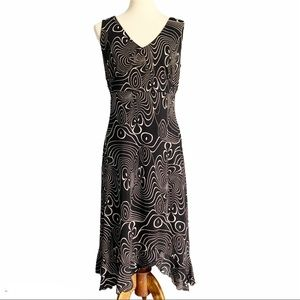 I. E. Petite Black Cream Swirl Midi Dress LP